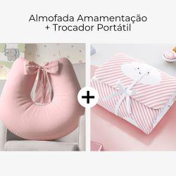 Almofada Amamentação Rosa Felicidade + Trocador de Fraldas Portátil Nuvem de Algodão Rosa