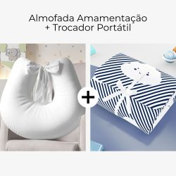 Almofada Amamentação Branco Paz + Trocador de Fraldas Portátil Nuvem de Algodão Azul Marinho