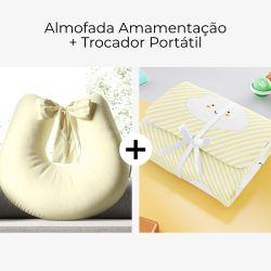 Almofada Amamentação Branco Paz + Trocador de Fraldas Portátil Nuvem de Algodão Amarelo