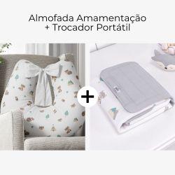 Almofada Amamentação Raposinha Cinza com Laço + Trocador de Fraldas Portátil Raposinha Cinza