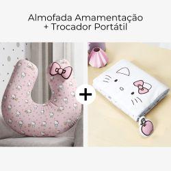 Almofada Amamentação Hello Kitty Rosa + Trocador de Fraldas Portátil Hello Kitty