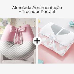 Almofada Amamentação Rosa Chevron com Laço + Trocador de Fraldas Portátil Coração Chevron