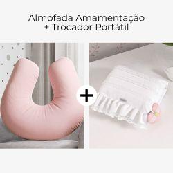 Almofada Amamentação Rosé + Trocador de Fraldas Portátil Princesa Clássica