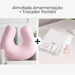 Almofada Amamentação Rosa Bebê + Trocador de Fraldas Portátil Princesa Clássica