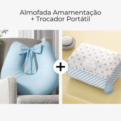 Almofada Amamentação Azul Tranquilidade + Trocador de Fraldas Portátil com Bolsos Nuvem de Algodão Azul
