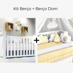 Kit Berço Nuvem de Algodão Amarelo + Berço Americano Branco Dom