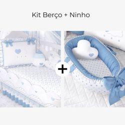 Kit Berço Chuva de Amor Azul + Ninho para Bebê Redutor de Berço Pompom e Corações Azul 80cm