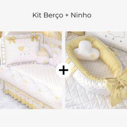 Kit Berço Chuva de Amor Amarelo + Ninho para Bebê Redutor de Berço Pompom e Corações Amarelo 80cm