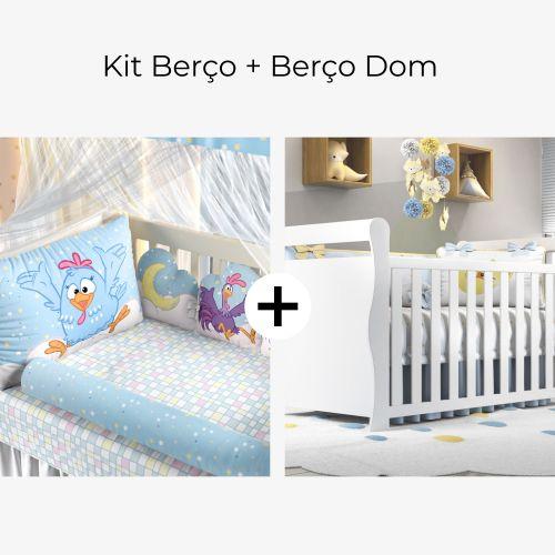 Kit Berço 3 em 1 Galinha Pintadinha Estrelinha + Berço Americano Branco Dom