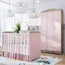 Quarto de Bebê Berço Rosa + Guarda Roupa 3 Portas Meli