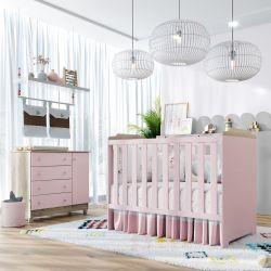Quarto de Bebê Berço Rosa + Cômoda c/ Porta Meli