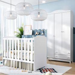 Quarto de Bebê Berço Branco + Guarda Roupa 3 Portas Meli