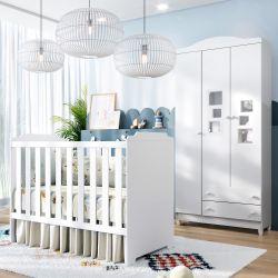 Quarto de Bebê Berço Branco + Guarda Roupa 3 Portas Acrilico Meli