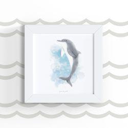 Quadro Fundo do Mar Golfinho 18cm