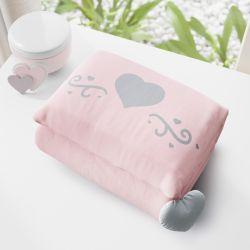 Trocador de Fraldas Portátil Coração Cinza e Rosa 73x40cm