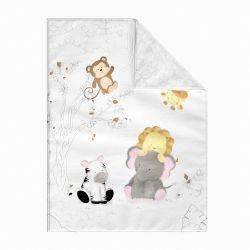 Cobertor Dupla Face com Soft Amiguinhos Safári Aquarela 1M
