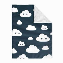 Cobertor Dupla Face com Soft Amiguinho Nuvem Azul Marinho 1M