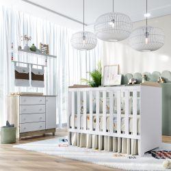 Quarto de Bebê Berço Branco/Madeira + Cômoda c/ Porta Flat Meli