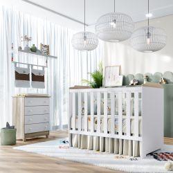 Quarto de Bebê Berço Branco/Madeira + Cômoda Meli