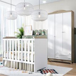 Quarto de Bebê Berço Branco/Madeira + Guarda Roupa 3 Portas Meli