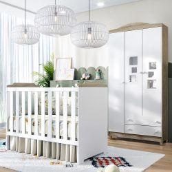 Quarto de Bebê Berço Branco/Madeira + Guarda Roupa 3 Portas Acrílico Meli