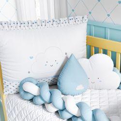 Quarto de Bebê Trança Nuvem Coração Azul