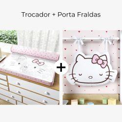 Trocador de Fraldas Hello Kitty e Porta Fraldas Hello Kitty 2 Peças