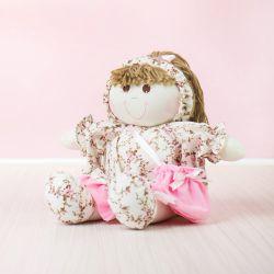Boneca Porta Chupeta Floral Rosa