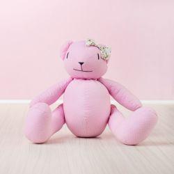 Ursa Rosa Poá com Laço Floral 34cm