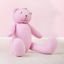 Ursa Rosa Poá com Laço Floral 40cm