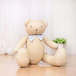 Urso Bege Poá com Laço Listrado 40cm