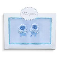 Porta Maternidade Cheguei Sapatinho Azul