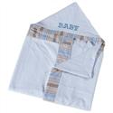 Toalha com Capuz Baby Azul Listado