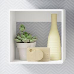 Nicho de Madeira Quadrado Branco 25cm