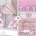 Kit Acessórios Baby Rosa Listrado