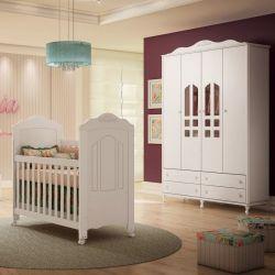 Quarto de Bebê Provençal Sophia com Berço/Cômoda/Guarda-Roupa de 4 Portas