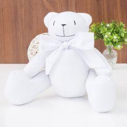 Urso Clássico Laço Branco 26cm
