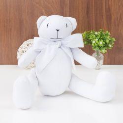 Urso Clássico Laço Branco 40cm