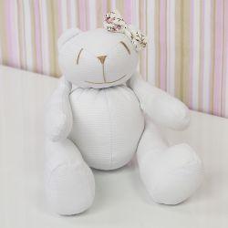 Urso Lacinho Palha Floral 25cm