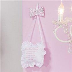 Enfeite Oração Santo Anjo Borboletinhas Rosa