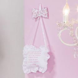 Porta Maternidade Oração Santo Anjo Borboletinhas Rosa