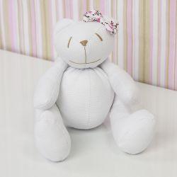 Urso Lacinho Floral Rosa 25cm