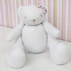 Ursa Lacinho Floral Rosa 34cm
