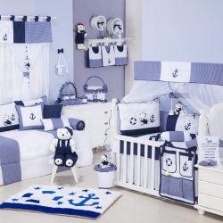Quarto de Bebê sem Cama Babá Marinheiro Azul