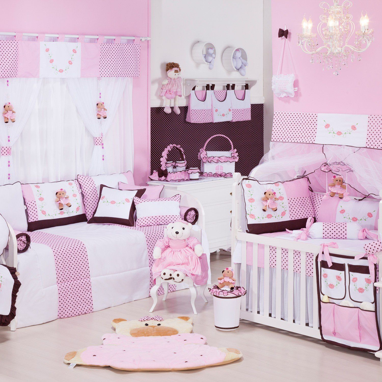 03d04b88f9 Quarto de Bebê sem Cama Babá Ursa Florista Rosa 39 peças
