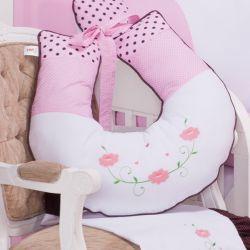 Almofada Amamentação Ursa Florista Rosa