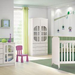 Quarto de Bebê Luizzi com Berço/Cômoda/Guarda-Roupa de 2 Portas