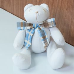Urso Gravata Xadrez Azul 25cm