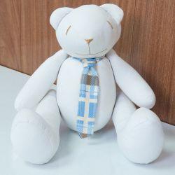 Urso Gravata Xadrez Azul 34cm