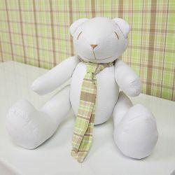Urso Gravata Xadrez Verde 34cm